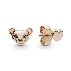 Pandora Lion Princess & Heart Stud Earrings
